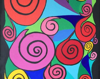 Spirals, Flowers, Acrylic, abstract art