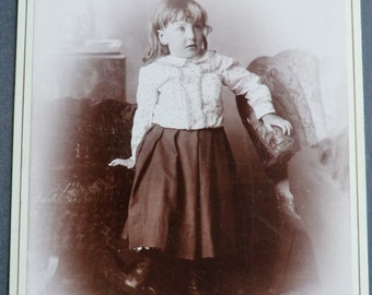 Girl Cabinet Card Photo Trying Hard to Pose Very Cute