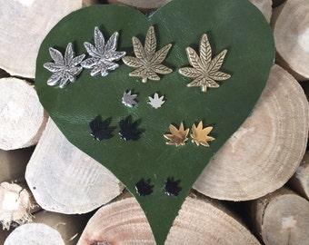 Weed Cannabis Stud Leaf Earrings
