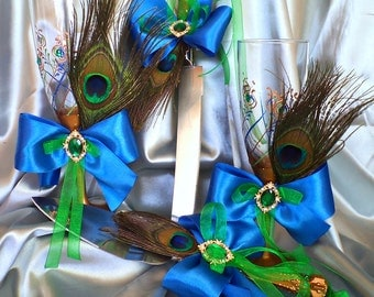 Peacock wedding glasses set 4 pcs Wedding cake server and knife Wedding champagne glasses Peacock feather Antique bronze Royal blue
