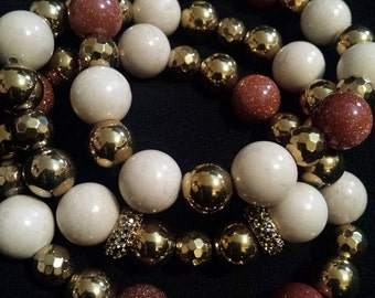 Sandstone, Shell, Goldtone Hematite and Pave' Accent Bracelet Set