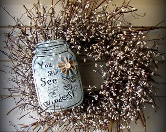 Silver Pip Berry Wreath - With Mason Jar Accent - 24""