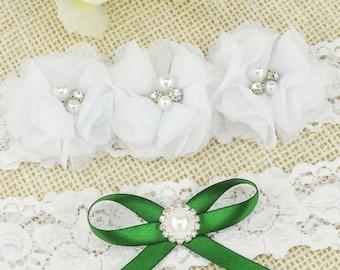 White Chiffon Flower Bridal Garter Set Wedding Garter Bridal Garter Lace Garter Bridal Garter Rhinestone Garters Garter Set