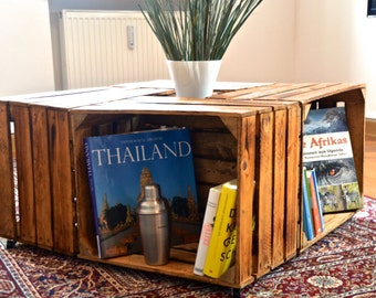 Unique coffee table from massive crates wine cases - free shipping!