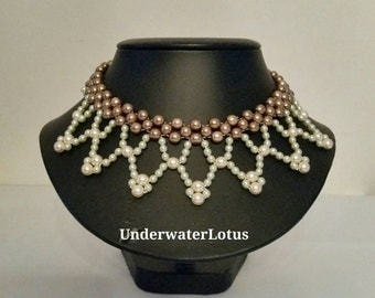 Vintage look pearl necklace, retro look, choker, personalized jewelry, custom made, party jewerly, wedding jewelry, bride jewelry