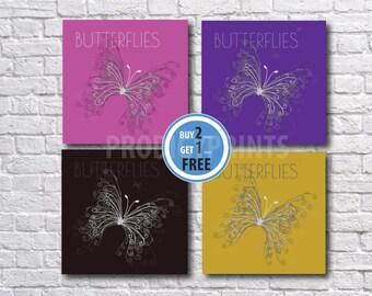 Butterflies prints, Kids wall art, Butterfly poster, Girl nursery art,Butterfly art