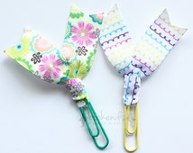 SALE*** Ribbon Planner Clips - Rainbow Multicolor Drawing Loops - Spring Flowers - Planner Accessories - Bookmarks - Paper Clips