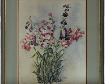 BEAUTIFUL Vintage Watercolour Painting, Original Painting Signed By The Artist Estelle Powell - 33cm x 38cm (13'' x 15'')