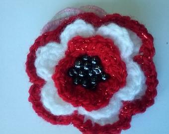 Set of 6,Flower hair clip, Flower hair accessory, Hand made, Flower girl,Crochet Flower Ponytail Bands for Girls