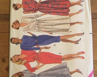 Vintage 1980s Butterick 4217 mock wrap dress sewing pattern in sizes 12 - 14 - 16 very easy!