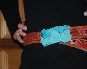 Turquoise Chunk Belt Buckle