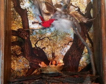 "Shadowbox mixed media ""Nestlings"" art repurposed materials"