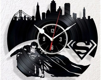 Vinyl wall clock Superman