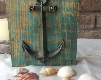 Metal Anchor on wood block.reclaimed wood.beach art.nautical.distressed.turquoise.shabby chic.french cottage chic.dorm art.