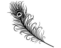 DECAL SERPENT (SP-1145) Peacock Feather Outline Silhouette Vinyl Car Decal
