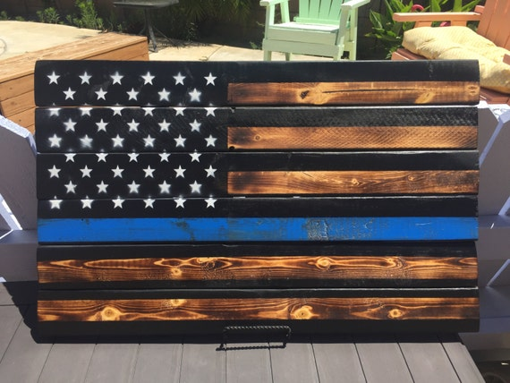 Beautiful Large Custom Scrap Wood Flag Pieced Together Carefully And Made To