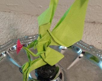Green origami fairy