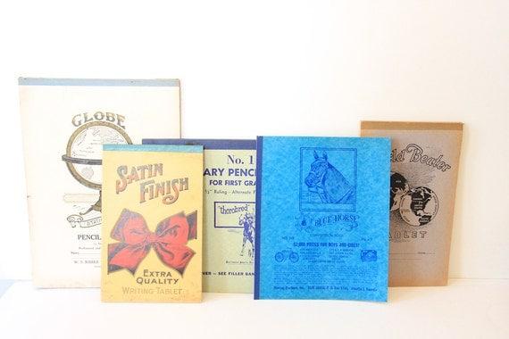 Set of 5 Vintage Blank Notebooks - Ephemera - Old School Supplies - General Store - Mixed Media - Altered Art - Scrapbooking - Collage