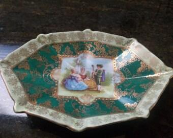 Vintage Victorian Scene Trinket Pin Dish