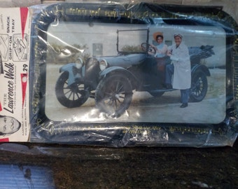 Vintage Lawrence Well & Alice in 1914 Dodge Snack Tray