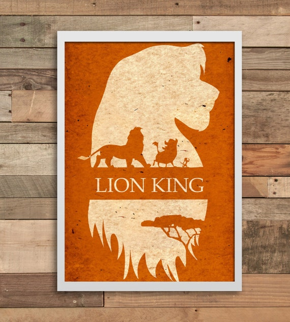 lion king art wall art print home decor minimalist poster. Black Bedroom Furniture Sets. Home Design Ideas