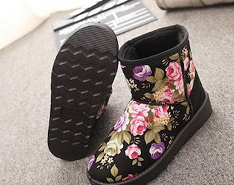 Sublimation printed Black Suede Boots.
