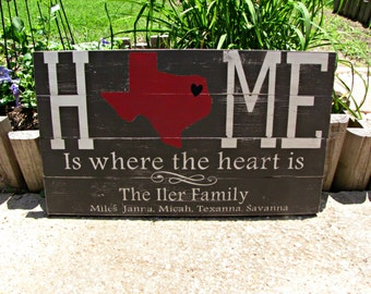 Home Is Where The Heart Is,rustic sign,state sign,personalized state sign, family sign