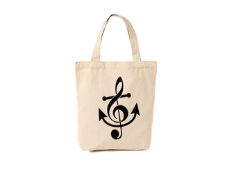 Trouble clef anchor tote..market bag, canvas tote, beach bag, pool bag, tote bag, grocery, nautical, music