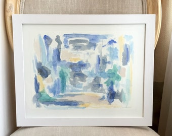 Abstract Blue Watercolor Painting, Blue Watercolor Painting: Abstract in Blues Composition No.1
