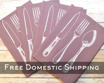 Purple Utensil Cotton Napkins - Set of 4