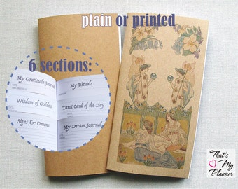 Midori insert - Notebook - Wicca Green Hedge Witch Pagan Journal Planner - Spiritual Mindfulness Journal