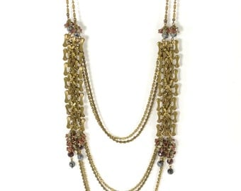 Marsala - brass and precious gemstones long necklace