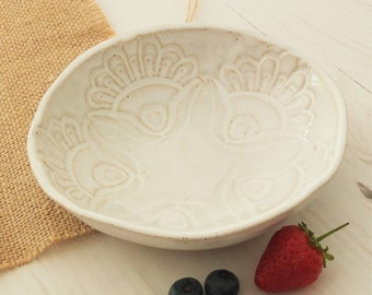 Handmade ceramic bowl, vintage lace, white bowl, pottery bowl, breakfast bowl, serving bowl, housewarming gift, dinnerware, kitchen, dining