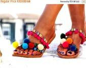 SUMMER SALES Goa LEATHER Sandals, Pom Pom sandals, Colorful  Sandals, boho Sandals,Leather Sandals, Greek Sandals, Bohemian Style, Handmade