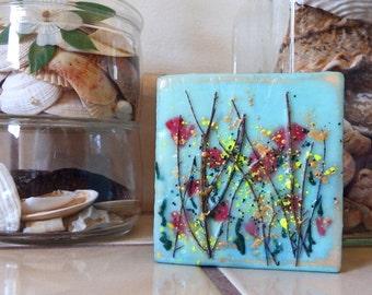 encaustic original painting small art poppy garden mothers day mini petit  #160111
