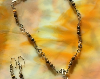 CalyKat Moss Lace Necklace Set with Handmade Lampwork beads, Swarovski Crystals, handforged Sterling Silver Wire
