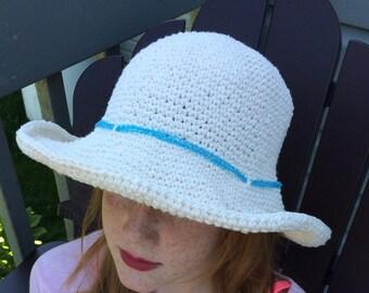 Women sun hat, Crochet cotton hat, wide brim hat, women beach hat, women white hat, white fedora, cotton sun hat, chemo hat, white beach hat