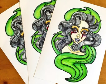 Ghoul A4 digital art print on glossy photo paper halloween zombie ghost girl pop art  popsurrealism big eye art illustration painting