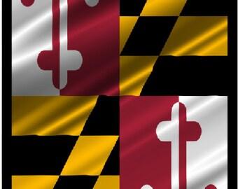 Maryland Flag ripples with Boarder Cornhole Wrap Bag Toss Decal Baggo Skin Sticker Wraps