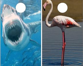 Shark Flamingo Cornhole Wrap Bag Toss Decal Baggo Skin Sticker Wraps
