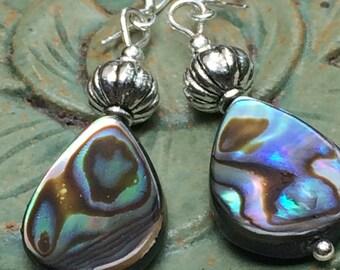 Abalone earrings, abalone shell, abalone and silver, dangling earrings, abalone jewelry