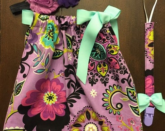 Lavender floral print pillowcase dress set