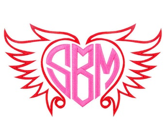 Heart Love Wing Frame Embroidery Designs