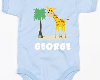 Personalised giraffe baby vest/body suit boys clothing
