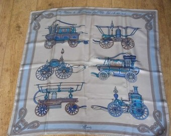 """REDUCED GUCCI silk scarf """"Voitures de Pompiers New York 1820-1859"""