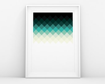 Poster. Minimalistic. Squares Blue. Scandinavian. Danish