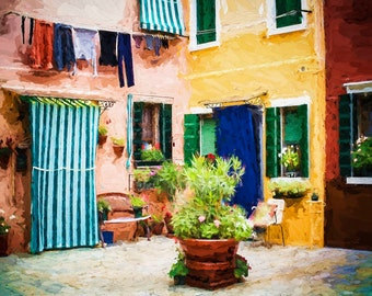 Burano Italy, Courtyard, Door And Windows Burano, Colorful Buildings Burano, Buildings And Wash Burano, Burano Wall Decor, Fine Art Photo