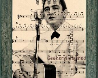 Johnny Cash art, Johnny Cash music sheet art,Johnny Cash print, Johnny Cashh music sheet print, office decor, wall art