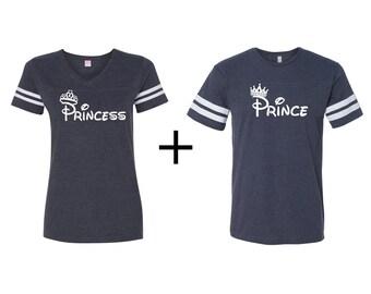 Prince and Princess couples shirts, couples football tees, couples matching shirts, prince and princess shirts