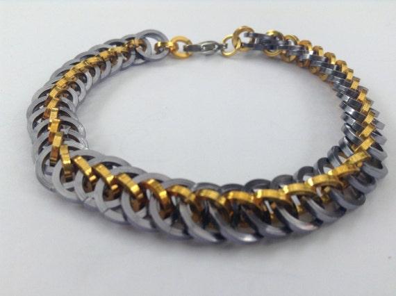 dragon tail bracelet chain maille by ampersandjewellery